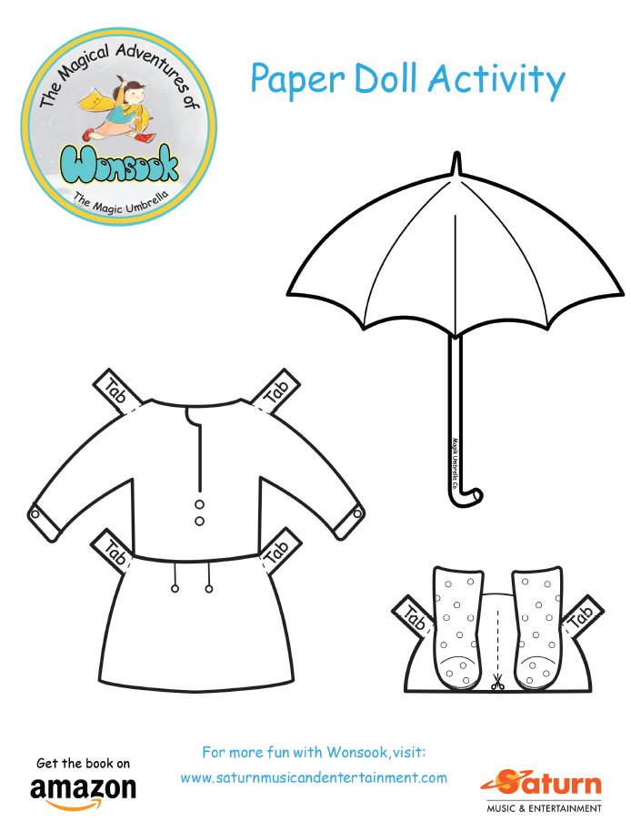 Wonsook Paper Doll Activity - Rain Outfit