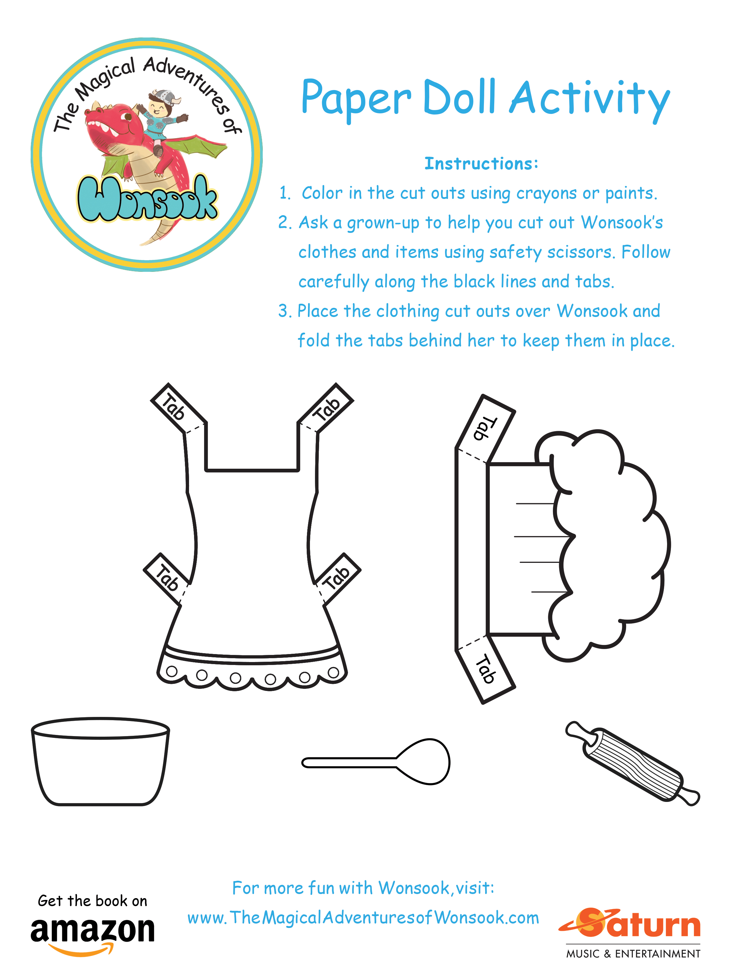 The Magical Adventures of Wonsook Paper Doll Activity - Chef Outfit